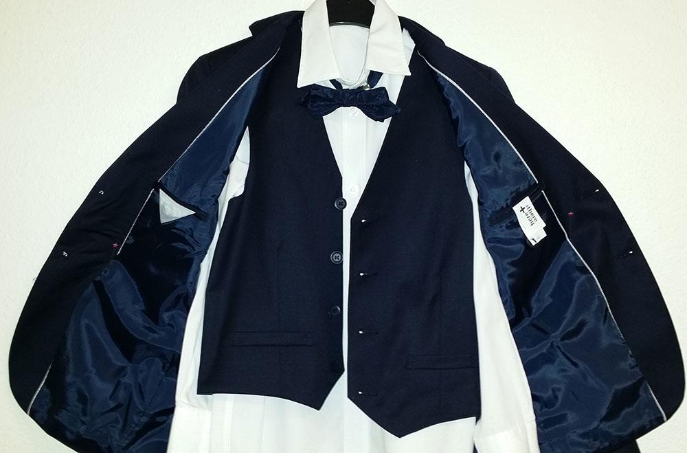 anzug jungen jacke hose weste hemd fliege dunkelblau. Black Bedroom Furniture Sets. Home Design Ideas